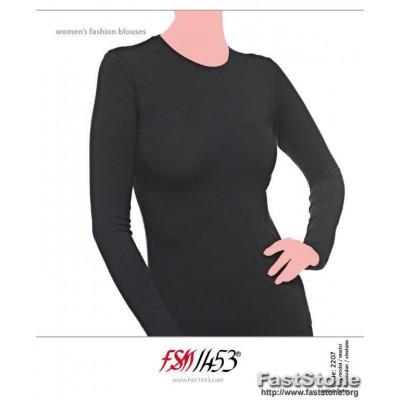 95 % modalo ir 5 % elastano pluošto moteriški marškinėliai ilgomis rankovėmis.